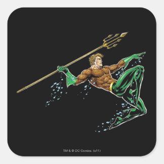 Aquaman que se lanza con la lanza colcomania cuadrada