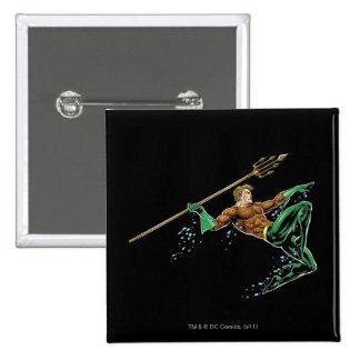 Aquaman que se lanza con la lanza pin cuadrado