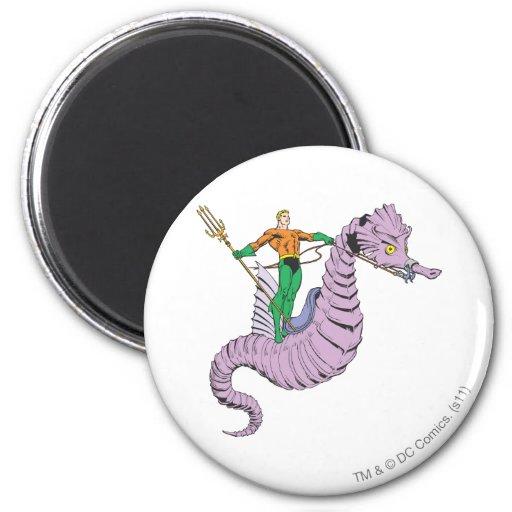 Aquaman Rides Seahorse 2 Inch Round Magnet