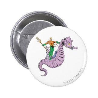 Aquaman Rides Seahorse Pinback Button