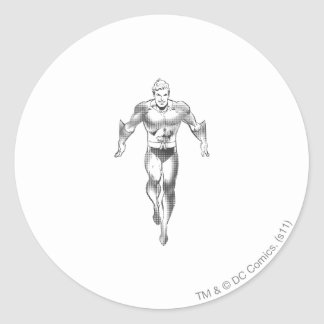 Aquaman Runs BW Classic Round Sticker