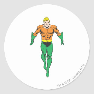 Aquaman Runs Classic Round Sticker