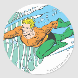 Aquaman salta a la izquierda pegatinas redondas
