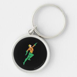 Aquaman salta para arriba llavero redondo plateado