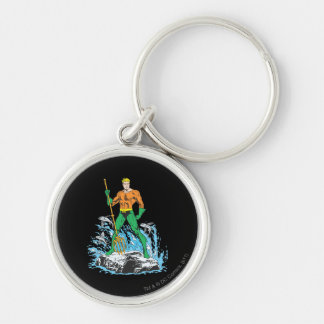 Aquaman se coloca con el Pitchfork Llavero Redondo Plateado