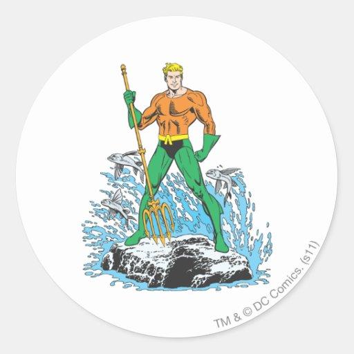 Aquaman se coloca con el Pitchfork Pegatinas Redondas