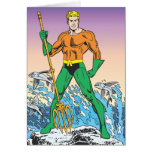 Aquaman se coloca con la lanza tarjeta de felicitación