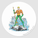 Aquaman Stands with Pitchfork Classic Round Sticker
