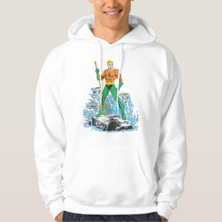 Aquaman Stands with Pitchfork Hooded Pullover