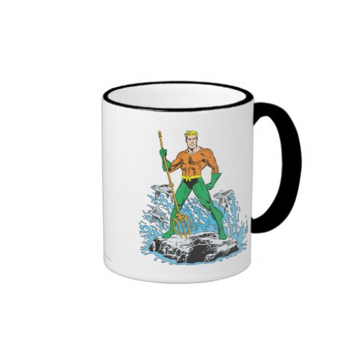 Aquaman Stands with Pitchfork Ringer Coffee Mug