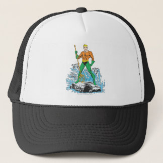 Aquaman Stands with Pitchfork Trucker Hat