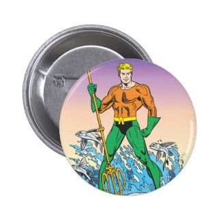 Aquaman Stands With Spear 2 Inch Round Button