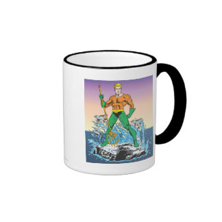 Aquaman Stands With Spear Ringer Coffee Mug