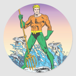 Aquaman Stands With Spear Round Sticker