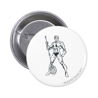 Aquaman with Pitchfork BW Button