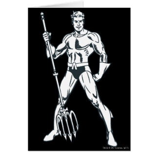 Aquaman with Pitchfork BW Greeting Cards
