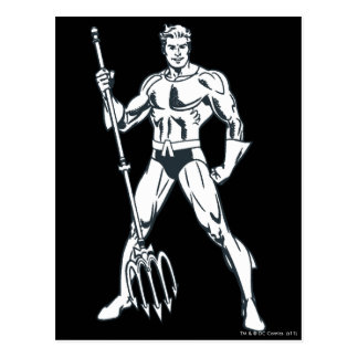 Aquaman with Pitchfork BW Postcard