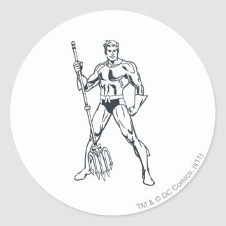 Aquaman with Pitchfork BW Round Stickers