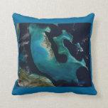 Aquamarine Abstract Bahamas Throw Pillow