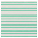 [ Thumbnail: Aquamarine and Beige Colored Striped Pattern Fabric ]