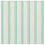 [ Thumbnail: Aquamarine and Beige Stripes/Lines Pattern Fabric ]