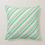 [ Thumbnail: Aquamarine and Beige Stripes/Lines Pattern Pillow ]