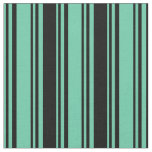 [ Thumbnail: Aquamarine and Black Colored Lined Pattern Fabric ]