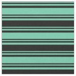 [ Thumbnail: Aquamarine and Black Colored Lines Pattern Fabric ]