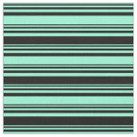 [ Thumbnail: Aquamarine and Black Colored Pattern of Stripes Fabric ]