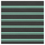 [ Thumbnail: Aquamarine and Black Lined/Striped Pattern Fabric ]