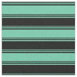 [ Thumbnail: Aquamarine and Black Stripes/Lines Pattern Fabric ]