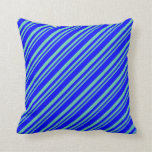 [ Thumbnail: Aquamarine and Blue Colored Pattern Throw Pillow ]