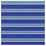 [ Thumbnail: Aquamarine and Blue Colored Stripes/Lines Pattern Fabric ]