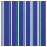[ Thumbnail: Aquamarine and Blue Lined Pattern Fabric ]