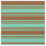 [ Thumbnail: Aquamarine and Brown Pattern Fabric ]