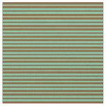 [ Thumbnail: Aquamarine and Brown Pattern Fabric ]