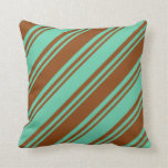 [ Thumbnail: Aquamarine and Brown Pattern Throw Pillow ]
