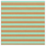 [ Thumbnail: Aquamarine and Chocolate Colored Lines Fabric ]