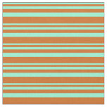 [ Thumbnail: Aquamarine and Chocolate Colored Stripes Fabric ]