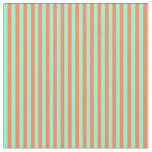 [ Thumbnail: Aquamarine and Coral Lined Pattern Fabric ]
