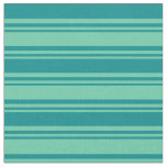 [ Thumbnail: Aquamarine and Dark Cyan Stripes/Lines Pattern Fabric ]