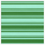 [ Thumbnail: Aquamarine and Dark Green Pattern of Stripes Fabric ]