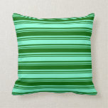 [ Thumbnail: Aquamarine and Dark Green Pattern of Stripes Throw Pillow ]