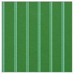 [ Thumbnail: Aquamarine and Dark Green Striped Pattern Fabric ]