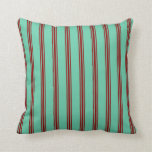 [ Thumbnail: Aquamarine and Dark Red Colored Pattern Pillow ]