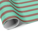 [ Thumbnail: Aquamarine and Dark Red Colored Pattern Wrapping Paper ]