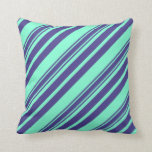 [ Thumbnail: Aquamarine and Dark Slate Blue Pattern Pillow ]