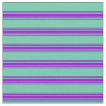 [ Thumbnail: Aquamarine and Dark Violet Colored Lines Fabric ]