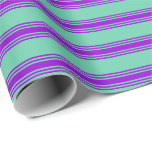 [ Thumbnail: Aquamarine and Dark Violet Colored Lines Wrapping Paper ]