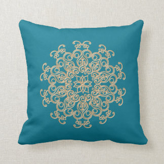 Aquamarine and Gold Indian Inspired Pillow